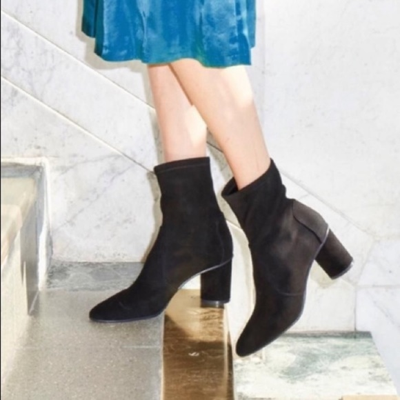 Margot Suede Midheel Sock Booties
